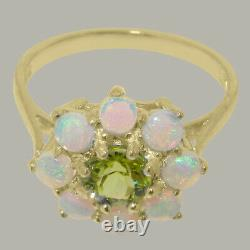 Solid 18k Yellow Gold Natural Peridot & Opal Womens Cluster Ring Sizes 4 to 12