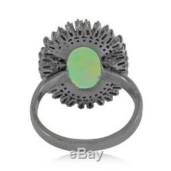 Solid 925 Silver Beautiful Opal Baguette Diamond Ring Jewelry Size 7 RIMJ-585