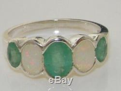 Solid 925 Sterling Silver Natural Emerald & Opal Womens Band Ring -Sizes 4 to 12