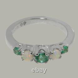 Solid 925 Sterling Silver Natural Emerald & Opal Womens band Ring Sizes J to Z