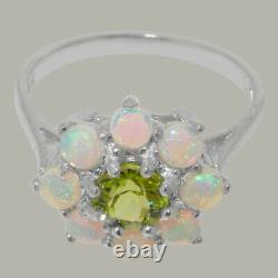 Solid 925 Sterling Silver Natural Peridot & Opal Womens Cluster Ring