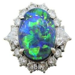 Solid 925 Sterling Silver Oval Opal & CZ Trillion-cut Halo Style Cocktail Ring