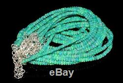 Solid 925Sterling Silver Natural Ethiopian Green Opal Beads 16Inches 8Necklace