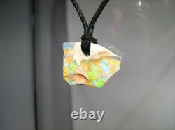 Solid Australian Boulder Opal Pendant 3.5ct Green Blue Gold Natural Gem Boho