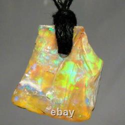 Solid Australian Boulder Opal Pendant 6.55ct Green Blue Gold Natural Gem Boho