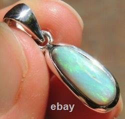 Solid Australian Opal Pendant Lightning Ridge Sterling Silver Jewelry men women