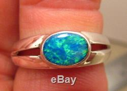 Solid Australian Solitaire Opal. 925 Sterling Silver Ring Size 7 or N1/2