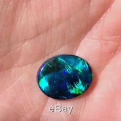 Solid Black Opal 4.05cts Amazing Turquoise Blues & Greens in Block Sheen Pattern