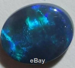 Solid Black Opal 4.88ct BLUE & GREEN Oval Lightning Ridge