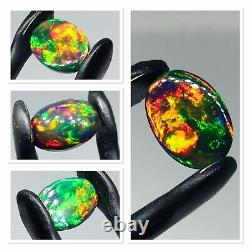 Solid Black Opal Exotic Colour Play And Dominant Red Orange Pink Green 2 Carat