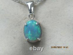 Solid Black Opal Pendant in Sterling Silver Setting