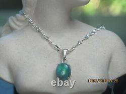 Solid Black Opal Pendant in Sterling Silver Setting (44)