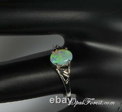 Solid Black Opal Ring, Size 7, Australian Lightning Ridge Natural Opal, Dainty