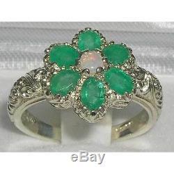 Solid English 925 Sterling Silver Fiery Opal & Emerald Art Nouveau Flower Ring