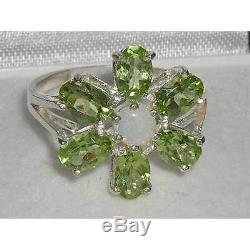 Solid English 925 Sterling Silver Ladies Opal & Peridot Large Flower Ring
