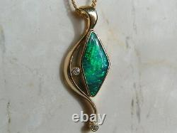 Solid Genuine Australian Opal and 18ct Gold Pendant