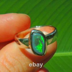 Solid Natural Black Opal Lightning Ridge Australia Sterling Silver Ring Sz 8.5