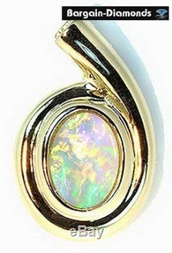 Solid Opal 14K gold Pendant pink green blue lemon violet red Australian love