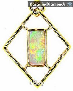 Solid opal 14K solid gold pendant red green opalo opale opala Australian love