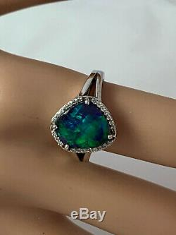 Spectacular Strong Blue Green Solid Black Opal Diamond Ring 18ct Gold Val $9,790