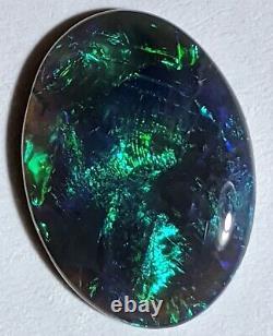 Stunning! 5.94ct Solid Black Opal Blue Green Broadflash Oval Lightning Ridge