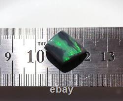 Stunning Electric Green Flash Solid Lightning Ridge Black Opal Freeform 6cts