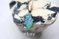 Stunning Handmade 18ct Yellow Gold & Solid Opal Carved Gem Pendant 26mm x 13mm
