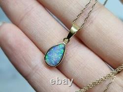Stunning Solid 18ct Yellow Gold Drop Pendant Pear Firey Blue Green Precious Opal