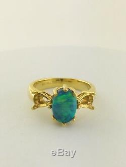 TAJ Natural Australian Black Opal Mounting Ring 18K Solid Yellow Gold