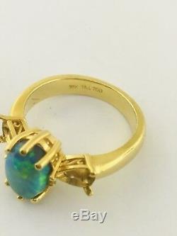 TAJ Natural Australian Boulder Opal Mounting Ring 18K Solid Yellow Gold