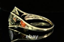 THAILAND 14K Solid Yellow Gold Mexican Opal Green Quartz Cocktail Ring Band 10