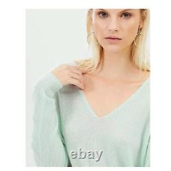 THEORY Adrianna Opal Green Feather Cashmere V Neck Long Sleeve Sweater M NWT
