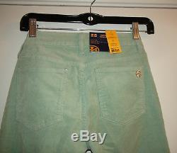 Tory Burch Ivy Super Skinny Corduroy Green Peruvian Opal 25 27 $195 NWT 4713223