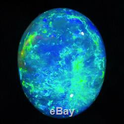 UNBEATABLE AQUA-BLUE-GREEN 3.74ct 12x10mm SOLID CRYSTAL OPAL LIGHTNING RIDGE