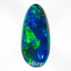 UNBEATABLE SAPPHIRE BLUE-GREEN 1.39ct 10x5mm SOLID BLACK OPAL LIGHTNING RIDGE