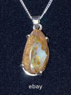 Unique Handmade Australian Gem Quality Boulder Opal Solid Silver Chain & Setting