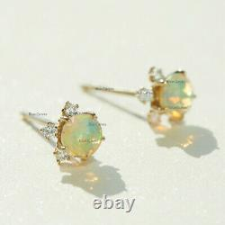 Unique Opal 3 Diamond in 18k Solid Yellow Gold Tiny Studs Earrings Fine Jewelry