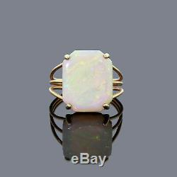 VTG 14K Yellow Gold Natural Australian Solid Opal Ring Green & Red Fire Size 6.5