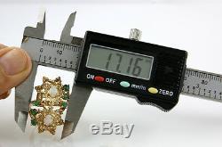 VTG Emerald & Australian Opal Set in 10k Solid Yellow Gold Ring