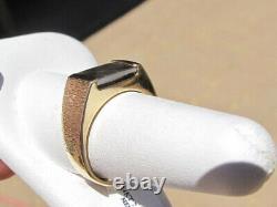 Vintage 14KT Textured Gold & Genuine Solid Red & Green Opal Ammolite Ring, sz 9