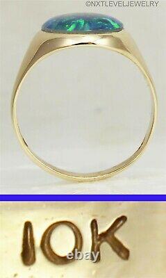 Vintage 1940's LARGE BRIGHT GREEN BLUE Natural Opal 10k Solid Gold Men's Ring