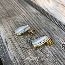 Vintage Australian Opal Solid 18K Yellow Gold Diamond Earrings 750 with Gold Backs
