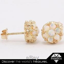 Vintage Estate 14k Solid Yellow Gold Cabochon Opal Cluster Stud Earrings 1.9g
