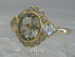 Vintage Green Amethyst & Opal Ring, 9ct 9k Solid Gold, Victorian Womens R30
