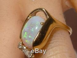 Vintage Green Opal 14k Solid Gold Ring 0.16 CT Diamond Opal Handcrafted Estate
