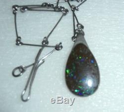 Vintage Solid Boulder Large Opal Sterling Silver Necklace Blue Green Purple Fire
