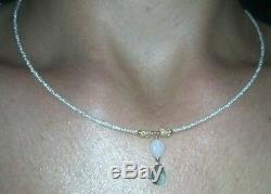 White seed pearl Zambian Emerald and fire Opal necklace pendant solid 14k gold