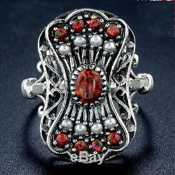 Yo Grandma Lit'l RingRed Fire Opal solid 925 silver victorian nouveau antique7