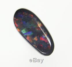 0,4 Ct. Étourdissant Rouge Vert Bleu Véritable Éclairage Clairière Solide Opale Noir Opale Gema209