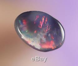 0.5ctred Vert Bleu Flashy Vrai Lightning Ridge Solid Black Opal Gemaob1391
